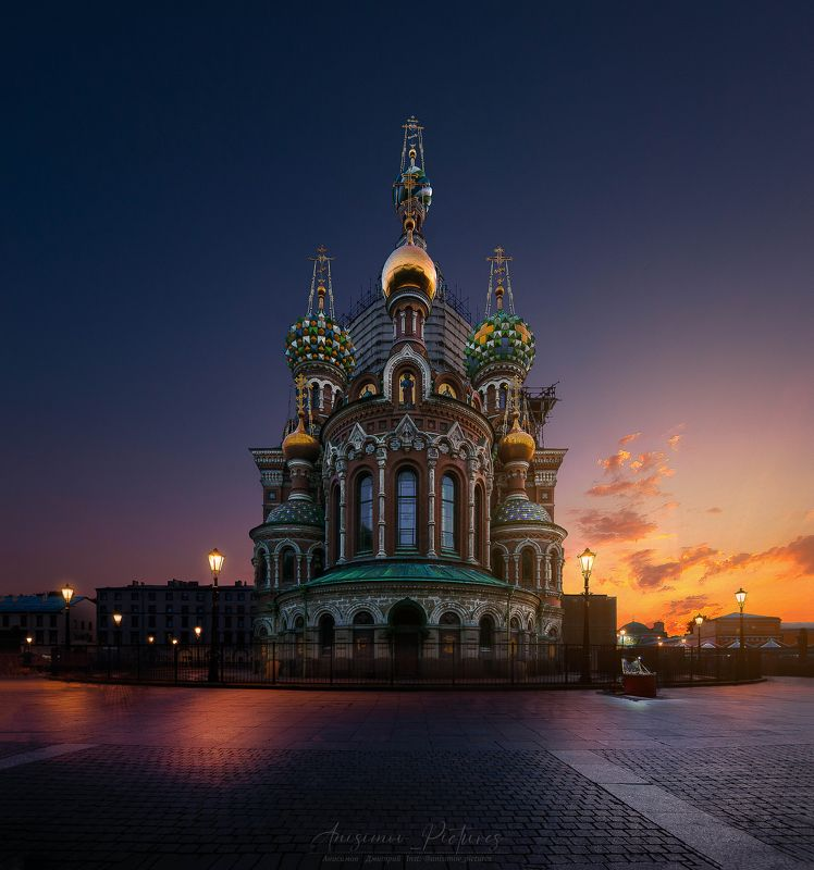 church,cathedral,city,evening,timeblending,architecture,sunset,russia,europe Спас-на-Кровиphoto preview