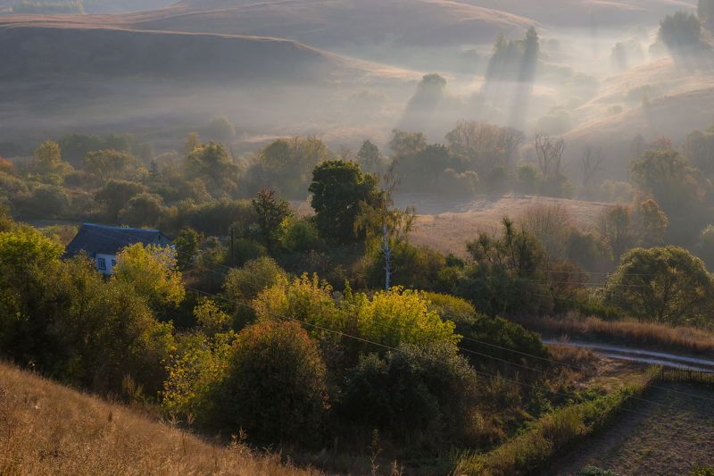 Пронск, утро, туман, холмы, домик На Пронских холмахphoto preview