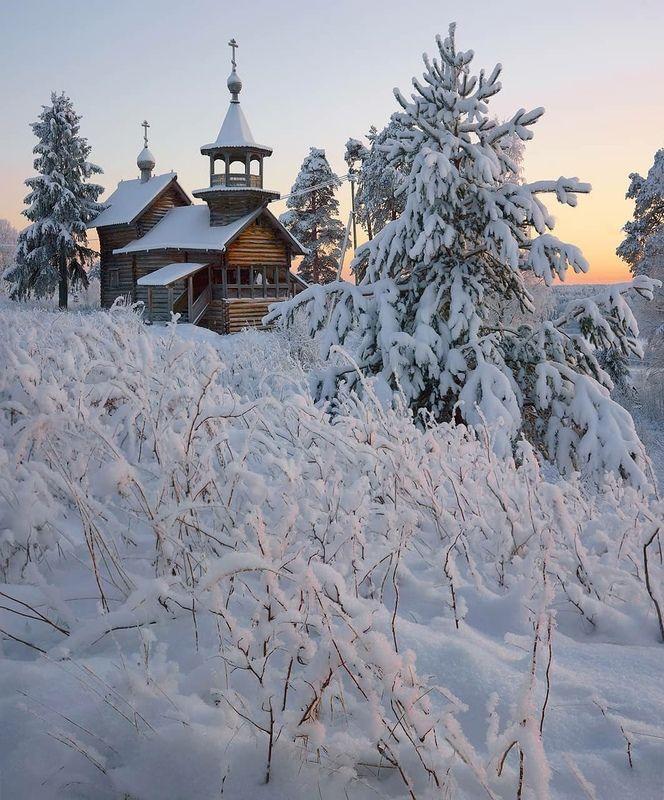 зима, часовня, карелия, мороз, снег Старая часовняphoto preview