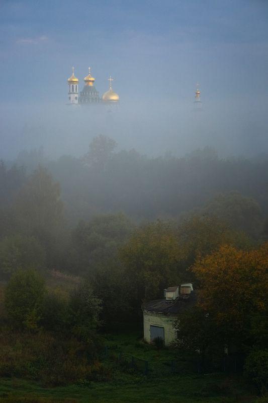 туман, храм, утро, подмосковье, истра photo preview