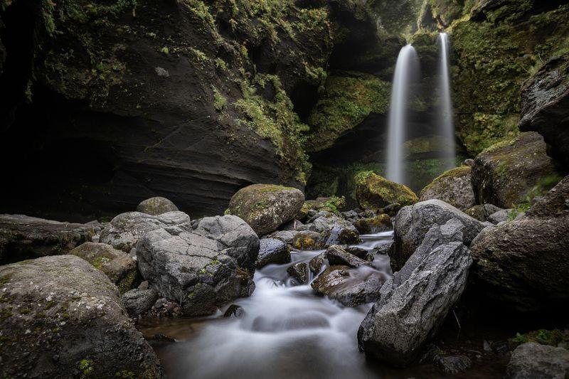 водопад, вода, река, гора, горы, сахалин, курилы, острова, лес, ландшафт, waterfall, landscape Водопад на острове Итурупphoto preview
