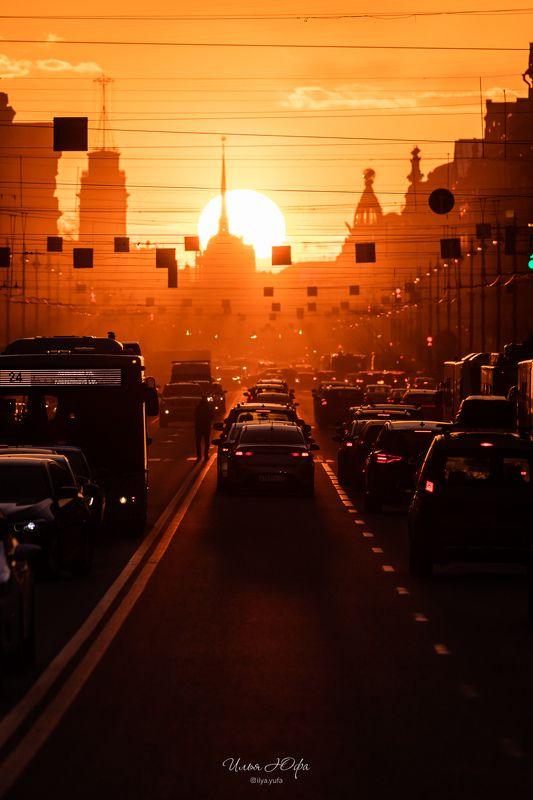 закат, Невский, Санкт-Петербург, город, улица Дважды в годphoto preview