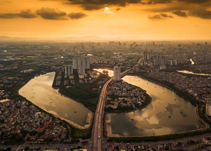 architecture, drone, cityscape, mavic pro, sky, skyscraper, skyline, city, flycam, Vietnam, Hanoi The golden afternoonphoto preview
