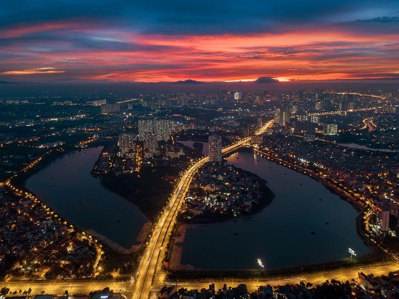 architecture, cityscpae, skyline, scraper, asian, vietnam, hanoi, sunset, drone Sunset at Linh Dam Pennisulaphoto preview