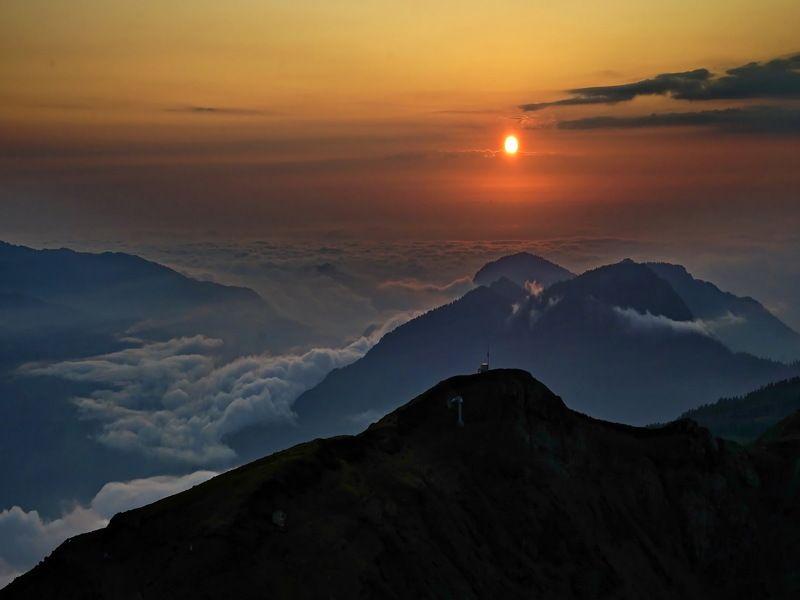 горы закат Закат в горах.photo preview