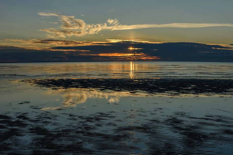 сентябрь отлив море белое залив берег закат вечер вода облака Белое море. Закатphoto preview