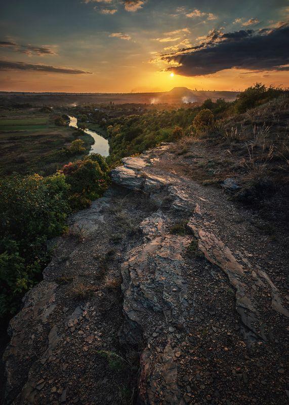 пейзаж, река, скалы, природа, закат, донбасс, зуевка, река крынка, Закат на \