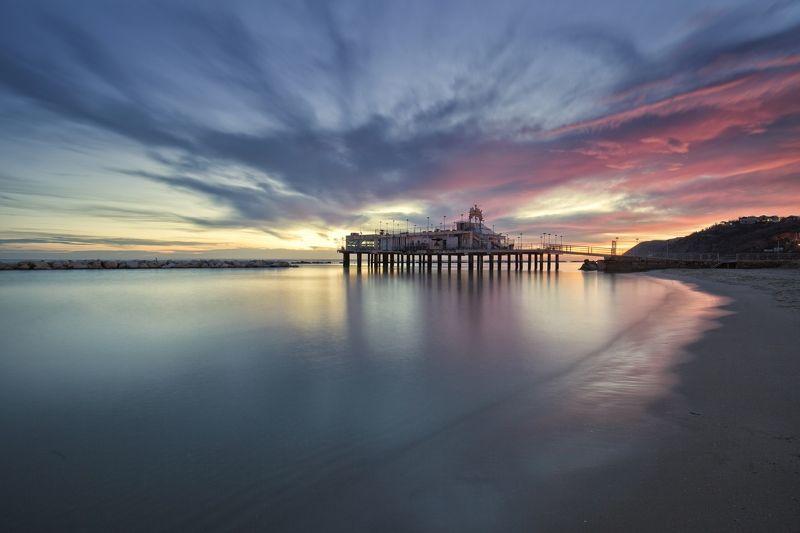 sea, sunrise, pier, water, landscape, blue, violet, day, clouds, sky Sunrisephoto preview