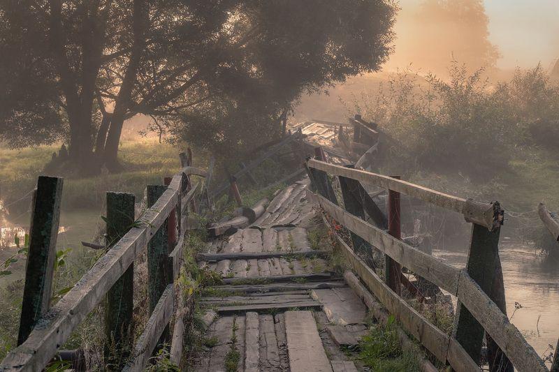 мост, разруха, утро, рассвет, река, шерна, туман, природа, пейзаж, филипповское Сложная судьбаphoto preview