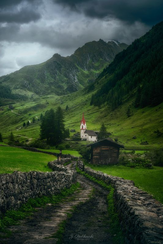 alps, mountains, moody Church in Alpsphoto preview