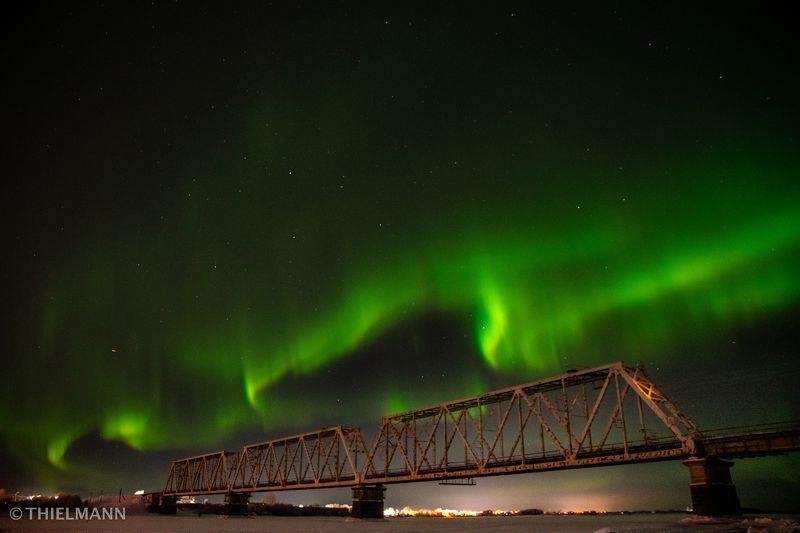 aurora, north, winter, frost, night, nightlights, sky, nightsky, light, bridge, river photo preview