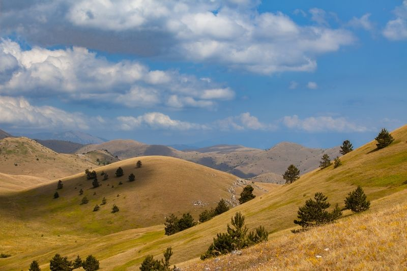 italy, landscape, campo imperatore, abruzzo, sky, clouds, land, trees, yellow, storm,plateau, mountain Campo Imperatorephoto preview