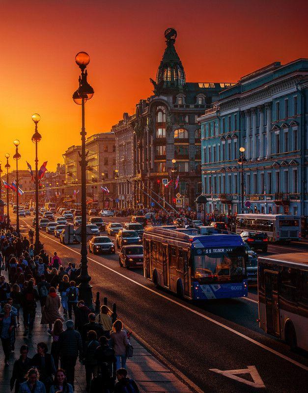 city,evening,architecture,sunset,russia,europe,golden hour Кипящий Невский проспектphoto preview