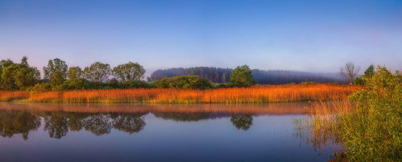 утро, лето, река, дымка, панорама, Утренняя панорамаphoto preview
