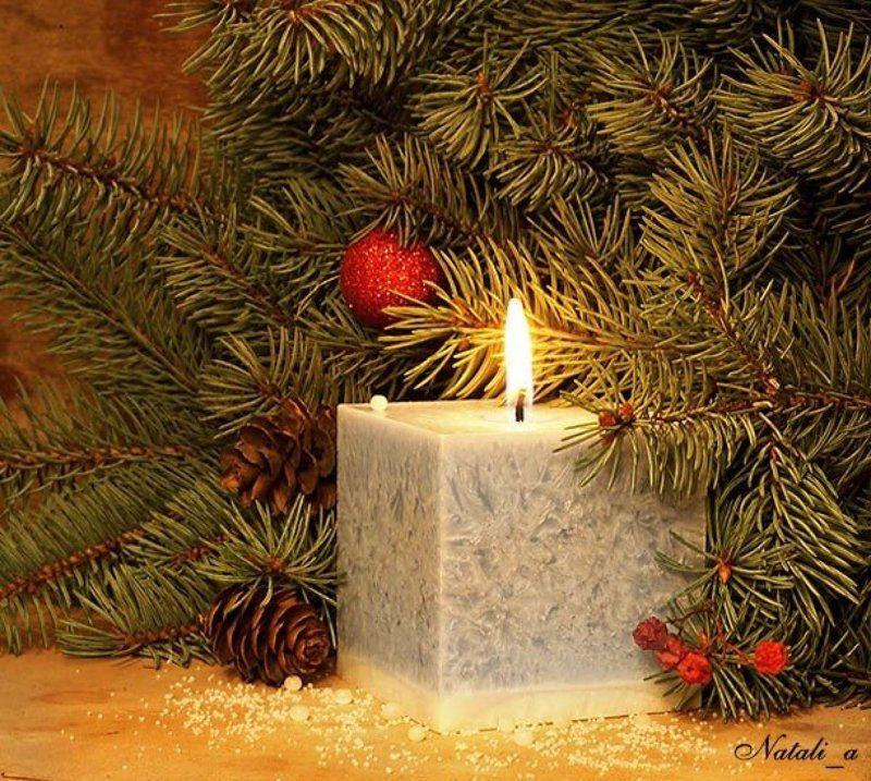 с, новым, годом, открытка, ель, свеча, огонь, пламя С Наступающим!photo preview