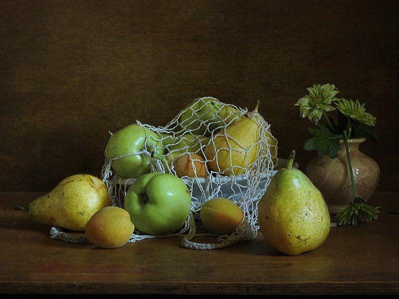 Груши, Натюрморт, Фрукты, Цветок, Яблоки Из летнегоphoto preview