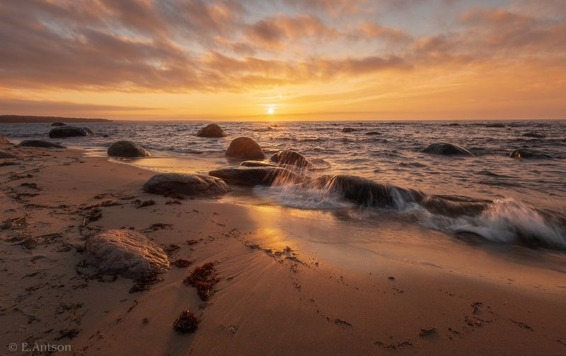 закат, солнце, свет, природа, пейзаж, море, песок, камни, небо, облака Балтийские закаты фото превью