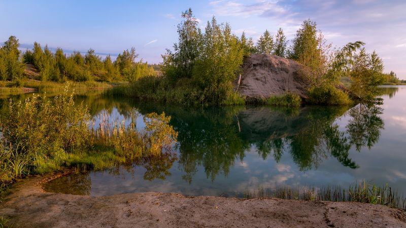 озеро, осень, пейзаж, природа, утро Островокphoto preview
