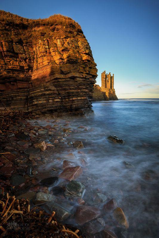 scotland,shoreline,sunset,coast,castle ruins,old keiss Old Keiss Castle ruins фото превью