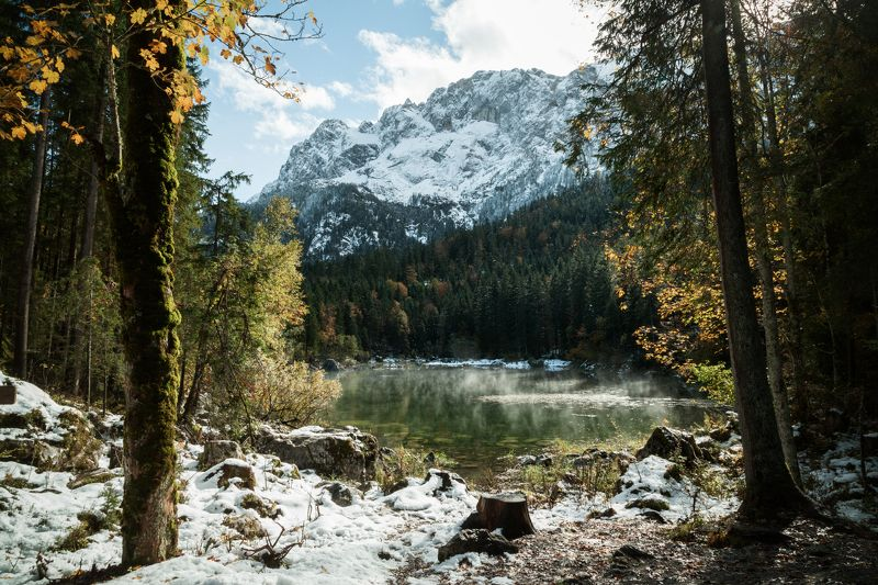 октябрь; осень; снег; горы; лес; альпы; озеро; германия October gatephoto preview