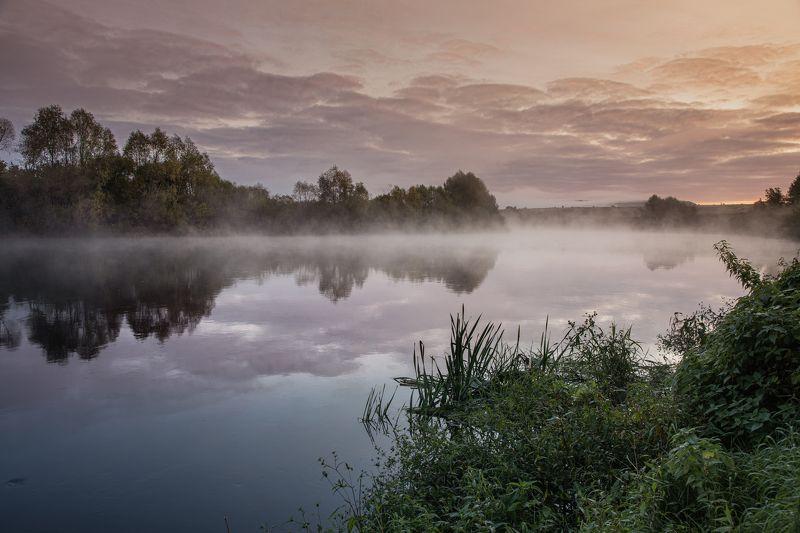russia, river, landscape, dawn, sunrise, mist, fog Dawn at Sura River IIphoto preview