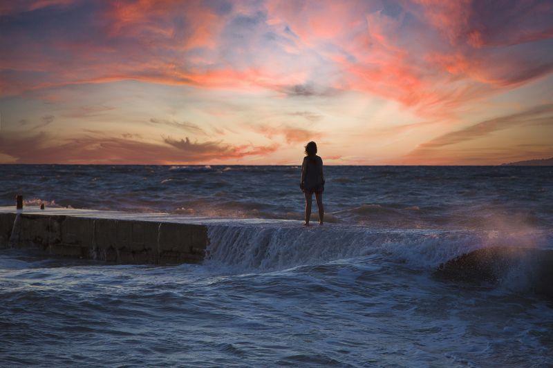 море, шторм, закат,  Навстречу стихии...photo preview