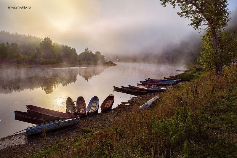 пейзаж, природа, река, лодки, утро, рассвет, туман В ожидании...photo preview