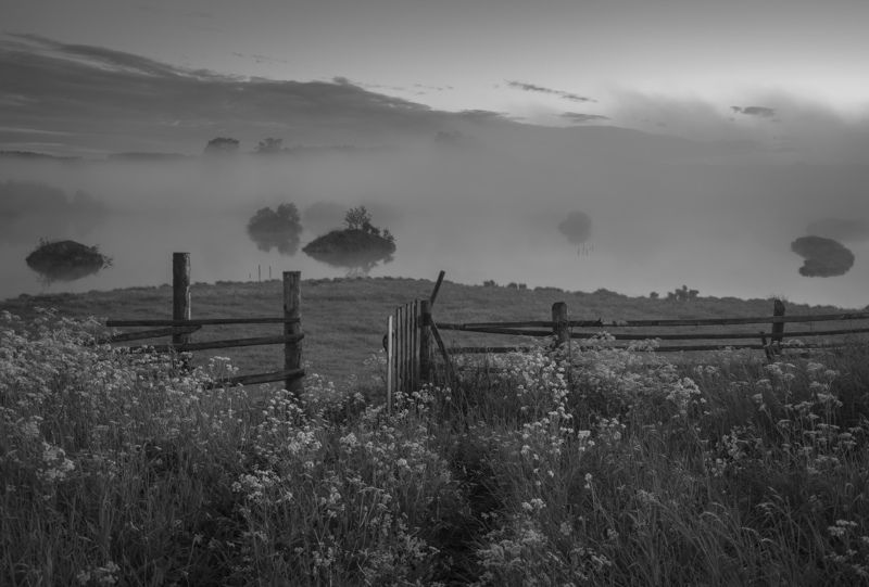 сумерки туман река околица калитка Туманные сумеркиphoto preview