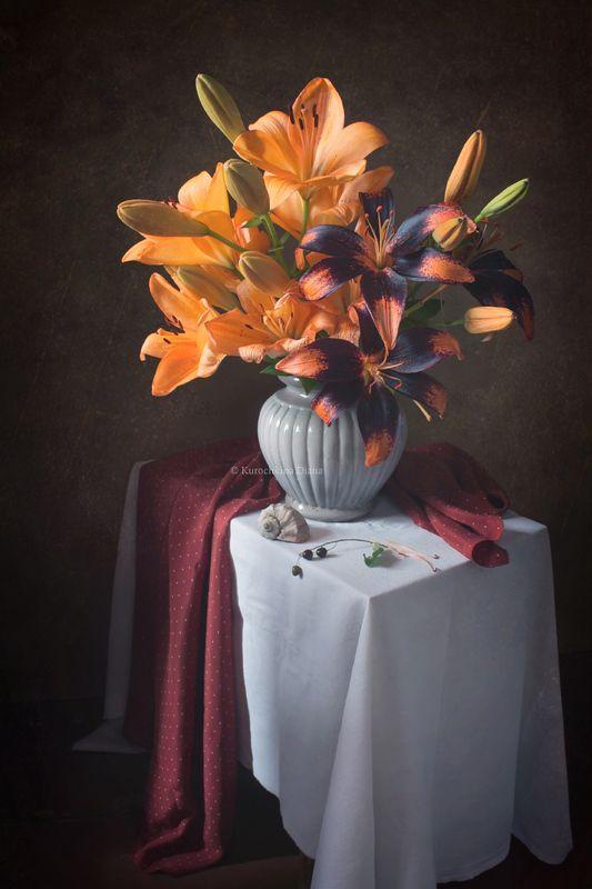 натюрморт, цветы, лилии, букет, июль Июльские лилииphoto preview