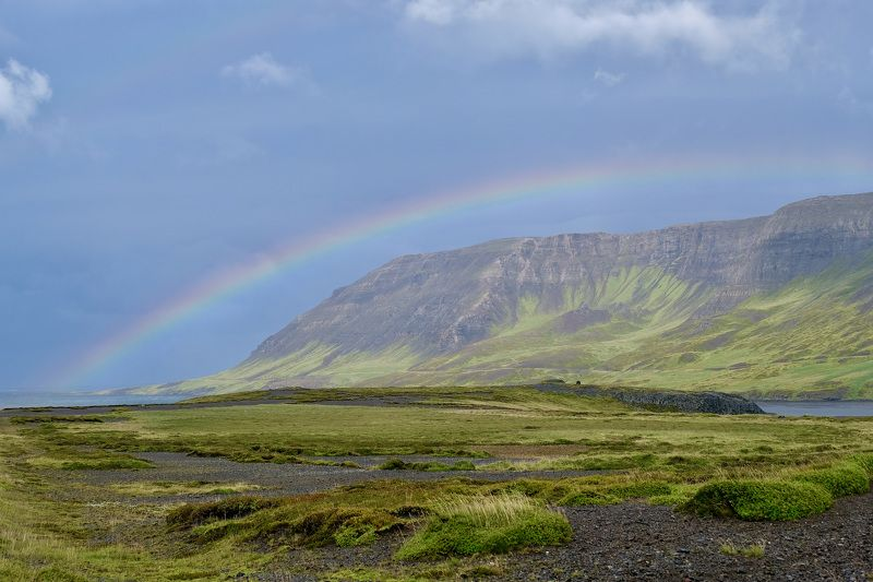 Landscapes, nature, Iceland, Rainbow, colors, mountain, sky, grass, coast, storm,  После штормаphoto preview