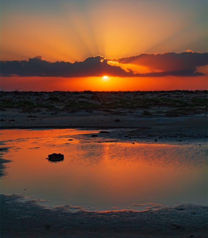 природа, пейзаж, закат, солнце, степь, озеро Едем мы на юг...photo preview