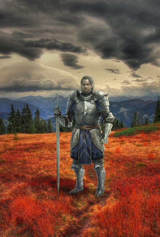 рыцарь, поле, горы Северянинphoto preview