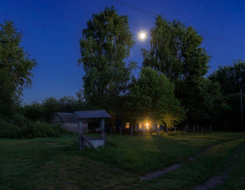 ночь, колодец, деревня, луна Светит месяц...photo preview
