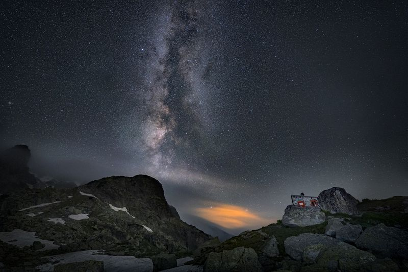 landscape nature scenery night milkyway lake reflection colors snow mountain peak пейзаж горы озеро Night in Rilaphoto preview