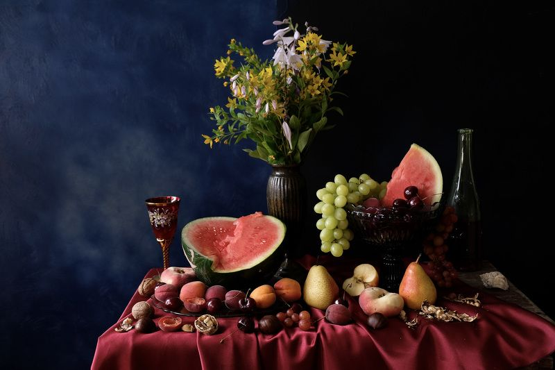 Still life, flowers, fruit, watermelon, apples, pears, nuts, chestnuts, grapes, cherries, peaches, autumn, fall, summer, September, food, colors, nature, flora,  Щедрый сентябрьphoto preview