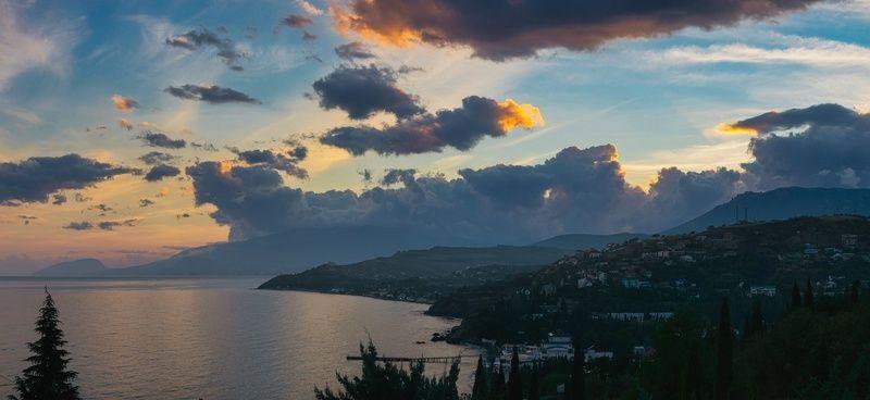 крым, черное море, осень, закат Синий часphoto preview