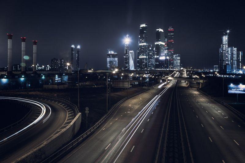 Москва дорога архитектура ночной пейзаж Дорога в Москву.photo preview