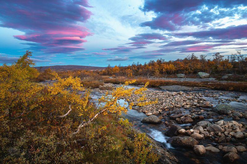 landscape,mountains,stream,sunrise,light,sky,clouds,norway,autumn,autumnal Autumnal sunrise sky фото превью