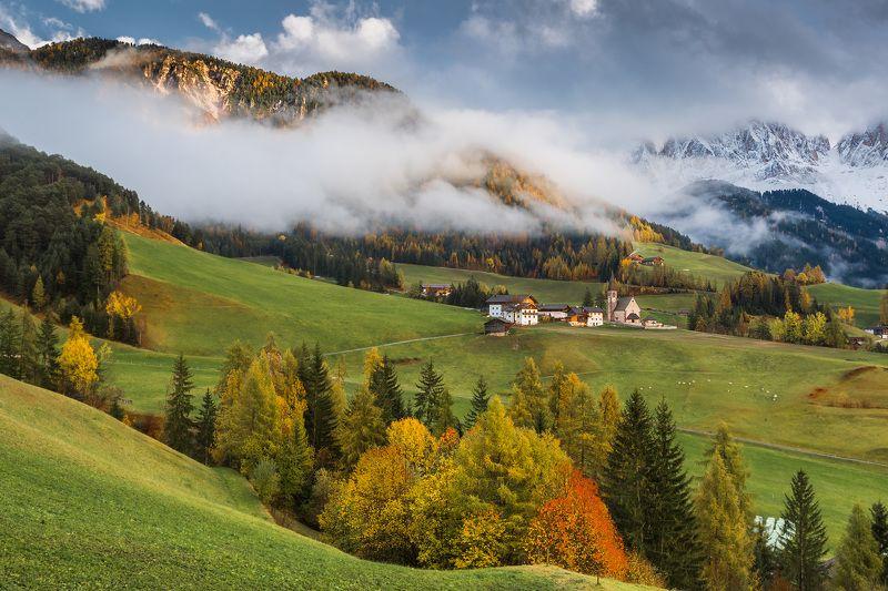 италия, доломиты, горы, облака, закат, осень, природа, landscape, italy, dolomites Santa Maddalena.photo preview