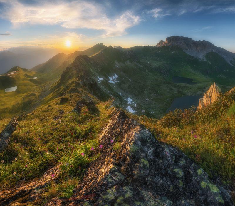 западный кавказ, загеданский хребет, загедан скала, пятиозёрье, закат, июль Загеданский хребет. Пятиозёрье.photo preview