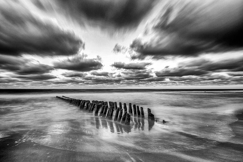 sea, coast, storm, breakwater, clouds, море, берег, шторм, волнорез, облака Seascapephoto preview