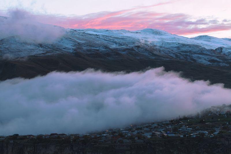 закат, туман, горы, дагестан, весна, хунзах Когда опускается туман...photo preview