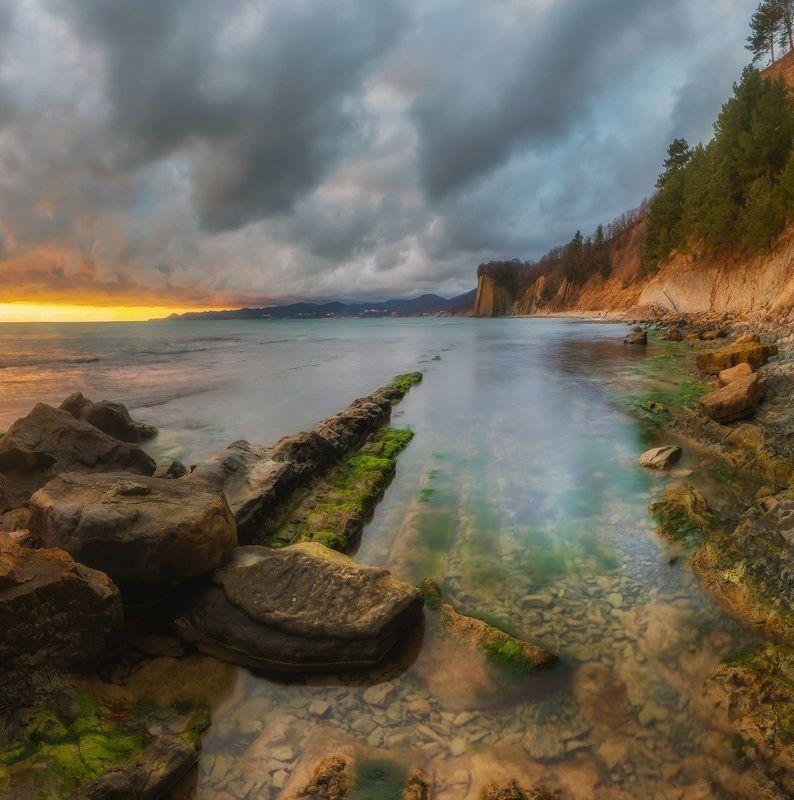 черное море, туапсе, скала киселёва, февраль, вечер, закат Чёрное море. Скала Киселёваphoto preview