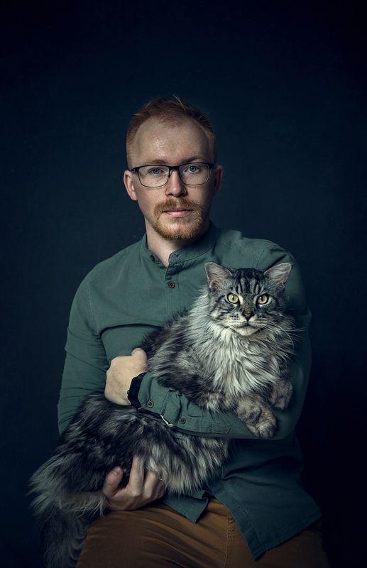 портрет, кот Кот и его хозяеваphoto preview