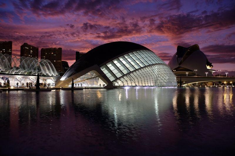City/Architecture, Santiago Calatrava, Spain, Valencia, city, architecture, modern architecture, colors, cityscape,  L\'Hemisfèric, sunset, clouds, reflection, water, travel,   L\'Hemisfèricphoto preview
