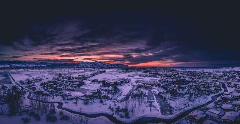 Snowy sunset IRAN Lagroud Daryasar village Guilan Snowy Sunset photo preview