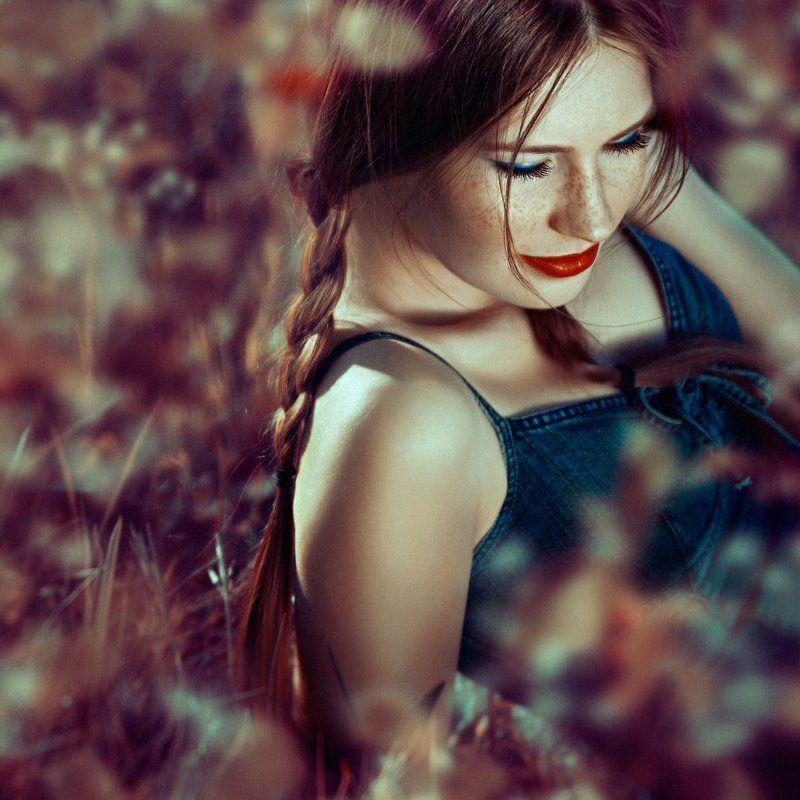 daydreams, flowers, grass, olga tkachenko, outdoors, people, portrait, square, sunlight Daydreamsphoto preview