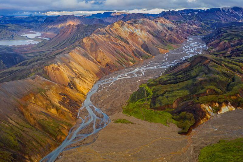 горы, исландия, осень, аэрофотография, сентябрь, ландманналаугар, цветные горы, долина, национальный парк Цветные горы долины Ландманналаугарphoto preview