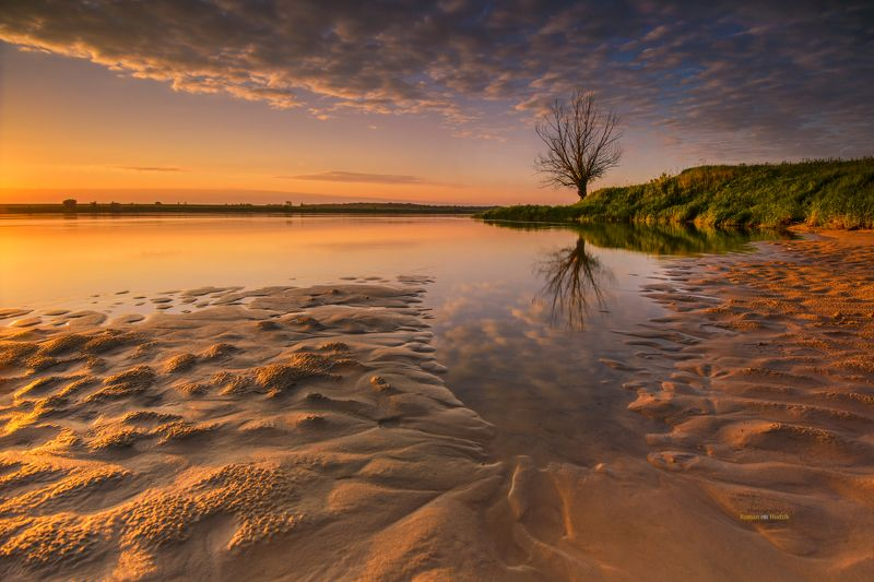 river, sunrise, lonely tree, sand, sky, clouds, landscape Tales from the river.photo preview