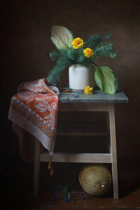 натюрморт, осень, цвветы, дыня Осенний с дынейphoto preview